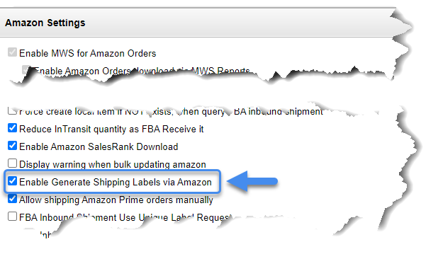 Enable generate shipping labels via Amazon setting