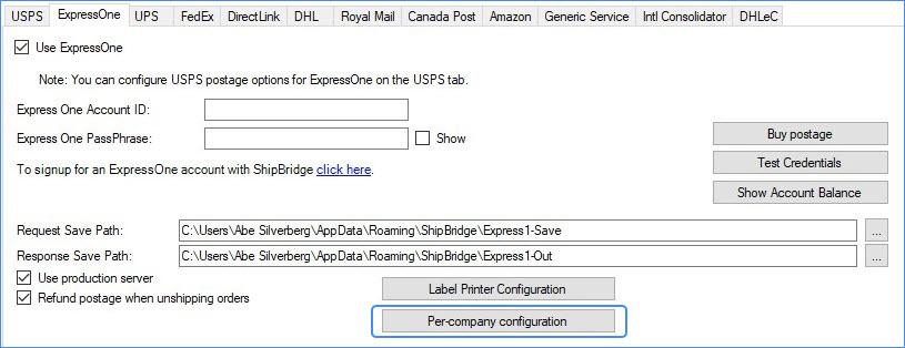 ExpressOne Per-company configuration