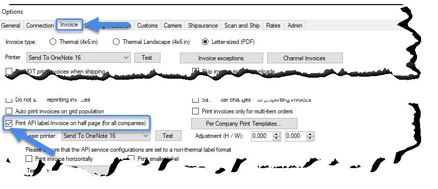 Print API label/invoice on half page setting