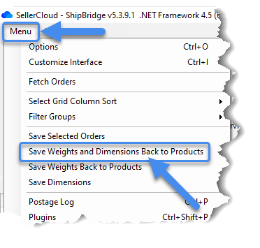 Save weight and dimensions back to products