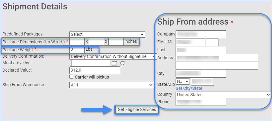 Shipment details