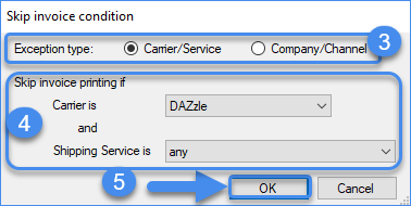 Configuring invoice exception