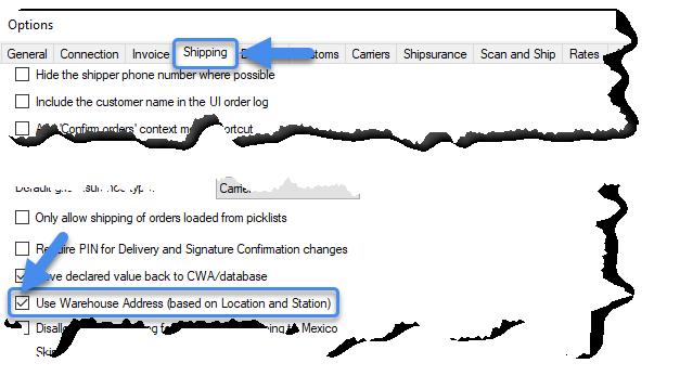 Use warehouse address setting