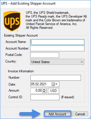 Add existing shipper account