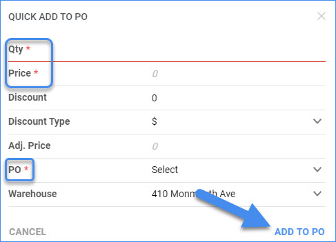 sellercloud add items to po quick add to po