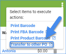sellercloud transfer to other po