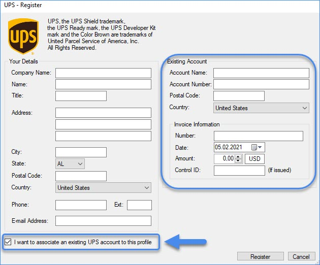 associate an existing UPS account to the profile