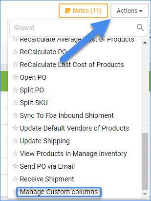 sellercloud manage custom columns po
