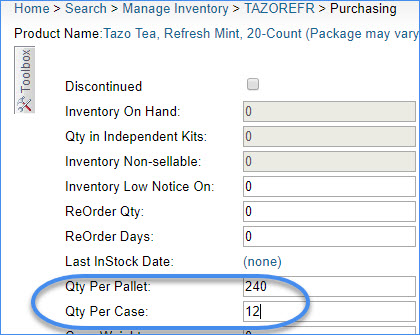 sellercloud setting qty per pallet and per case