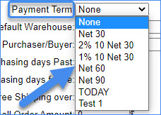 sellercloud vendor payment term