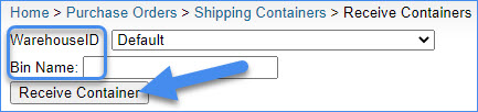 sellercloud receive container