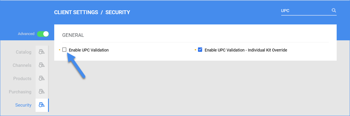 sellercloud advanced client settings enable upc validation