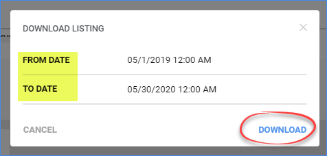 sellercloud shopify download listings date range