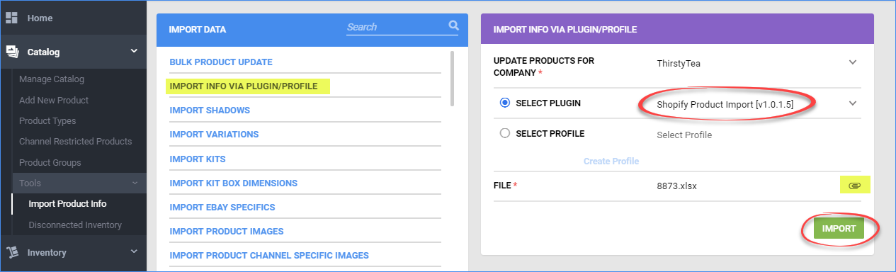 sellercloud import shopify listings