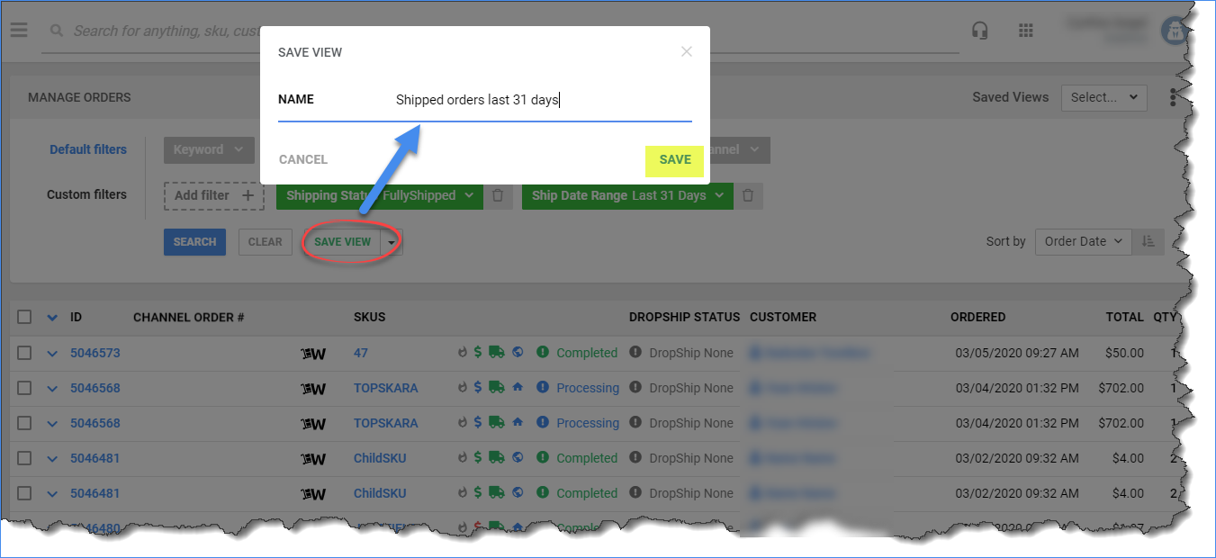 Click Save View and name and save your filtered view for reuse