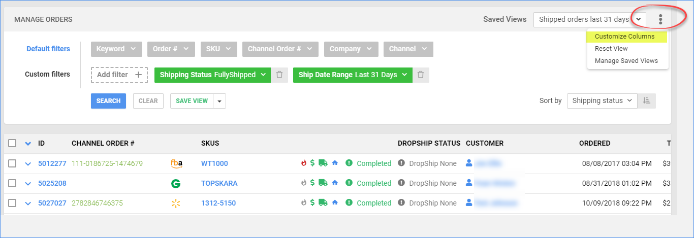 Customize Columns menu to reorder the headers, reset the view, or manage custom views