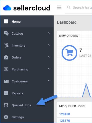 sellercloud dashboard side bar queued jobs