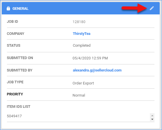 sellercloud queued jobs details page general priority