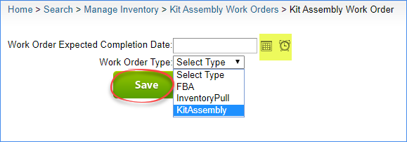 sellercloud save new kit assembly work order