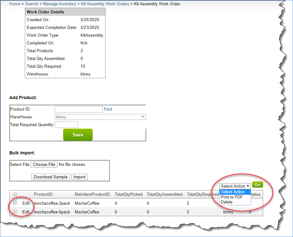 sellercloud kit assembly new work order actions