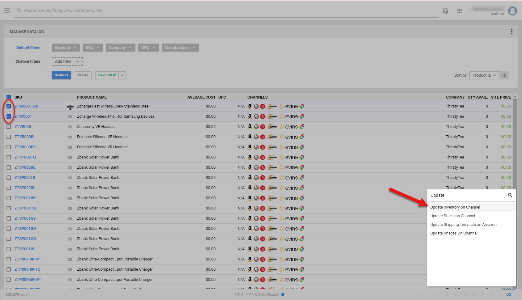 sellercloud manage inventory on channel amazon