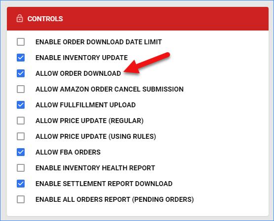 sellercloud amazon general settings controls allow order download