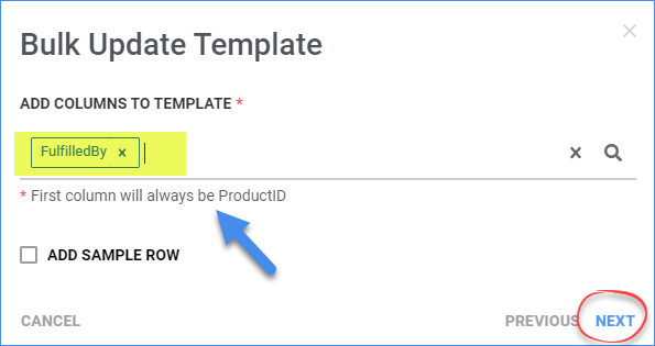 Add columns to a new bulk-update template
