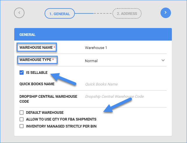 sellercloud inventory manage warehouses add warehouse general information