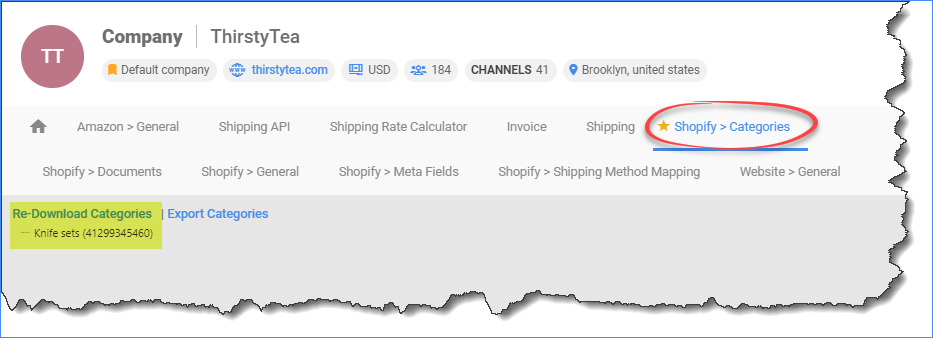 sellercloud shopify download categories