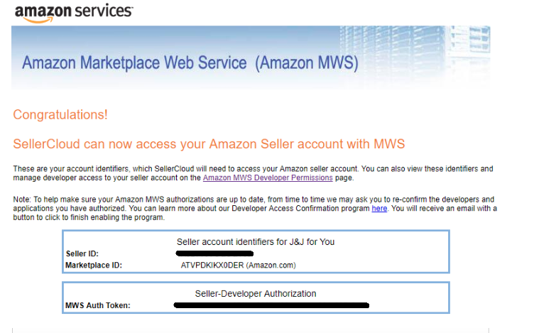 Amazon marketplace web services account identifiers page