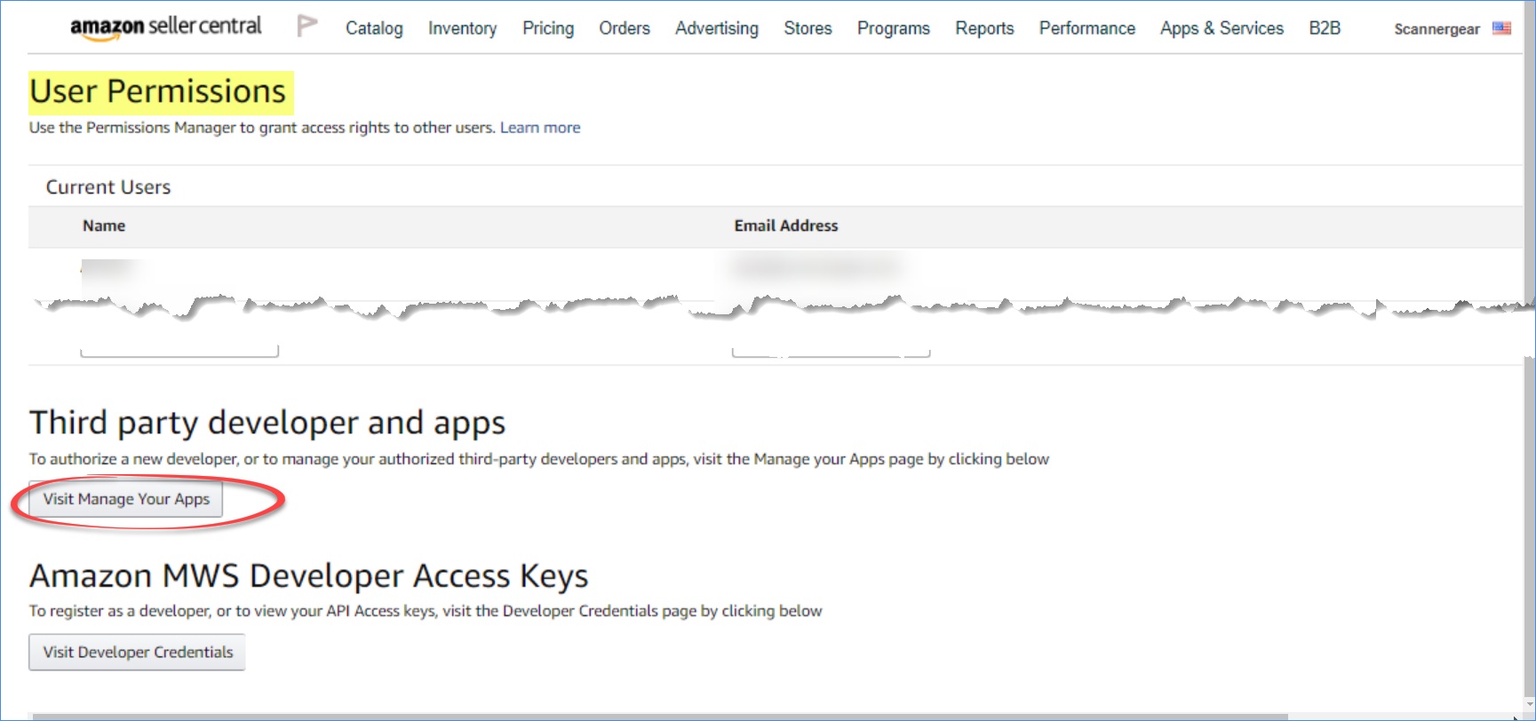Visit Manage Your Apps button in Seller Central's Settings' User Permissions page
