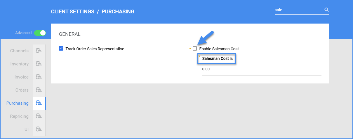 sellercloud client settings advanced purchasing enable salesman cost