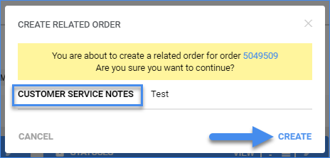 sellercloud order details page create related order
