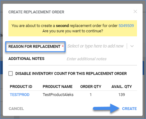 sellercloud order details create replacement order