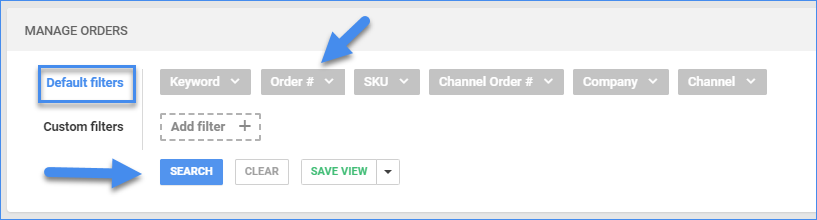 sellercloud manage orders page default filters