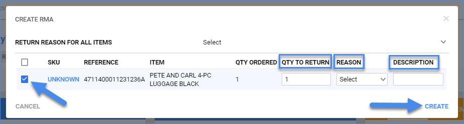 sellercloud completed order details create rma
