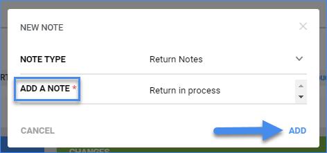 sellercloud rma detaisl page add note window