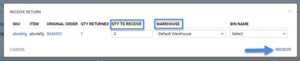 sellercloud rma details page actions receive rma window