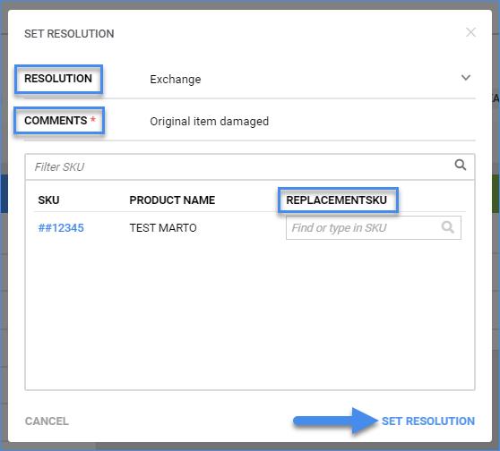 sellercloud rma details set resolution exchange
