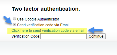 Alpha - option to send authentication code by email