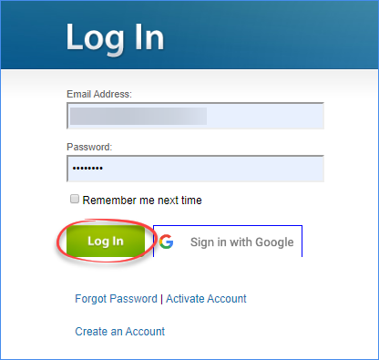 Login page - Alpha interface