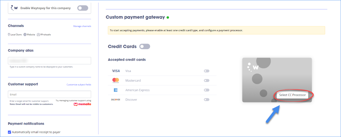 waytopay.me select credit card processor