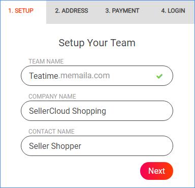 Memaila team setup page