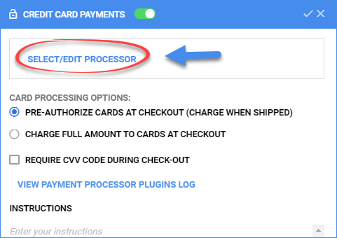 sellercloud select/edit credit card processor delta interface