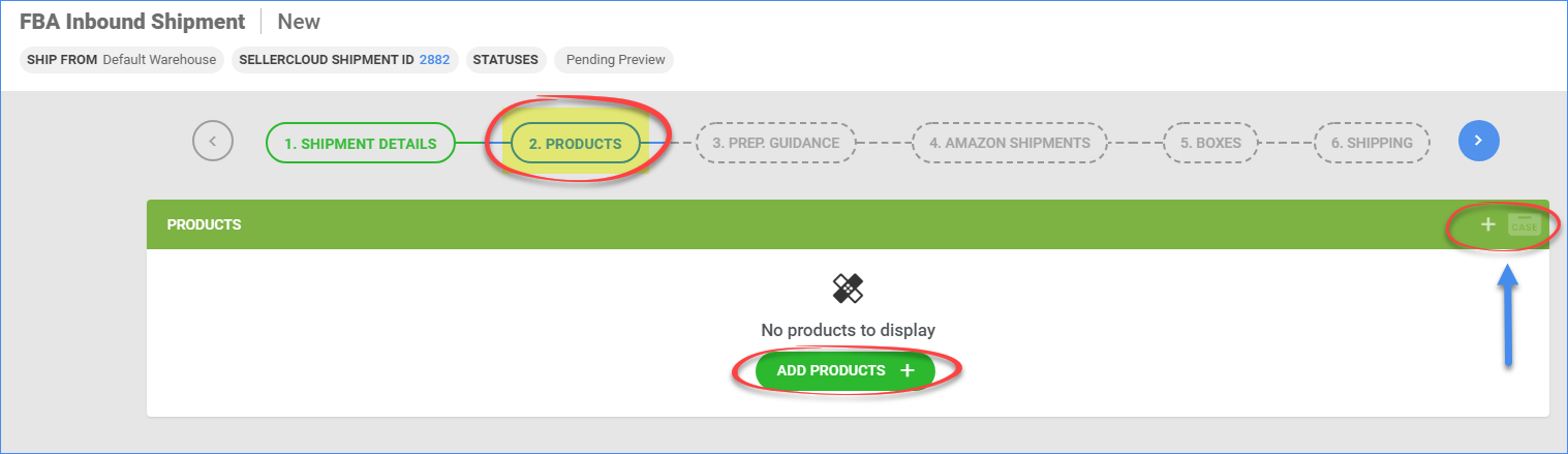 Tab #2 of the FBA inbound shipment wizard, adding products