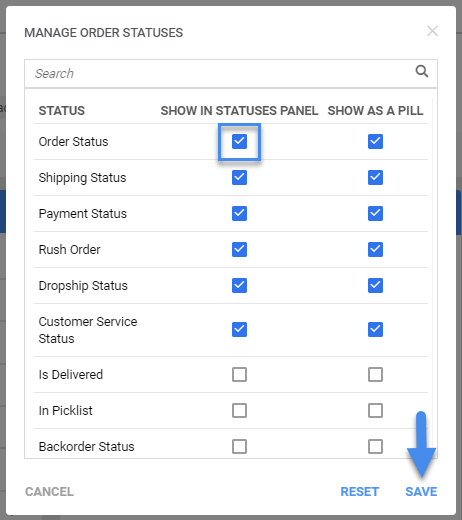sellercloud order details edit order statuses display