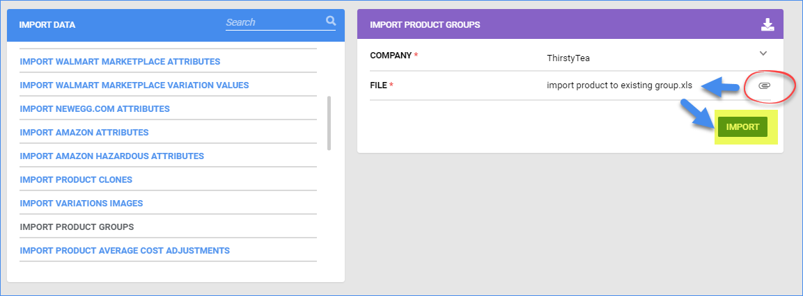 sellercloud import a group of products