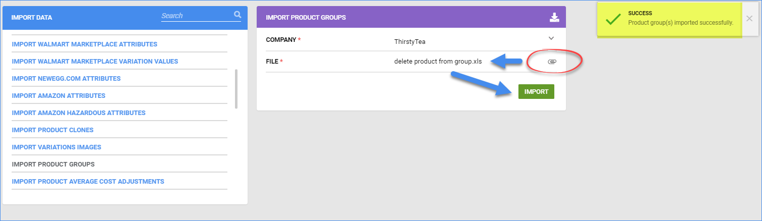 sellercloud delete products from a product group