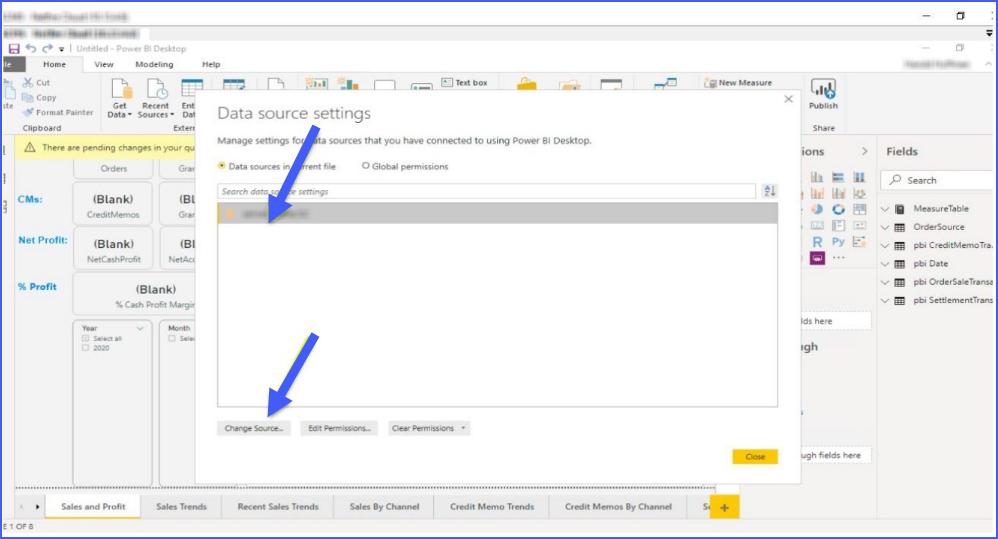 data source settings power bi