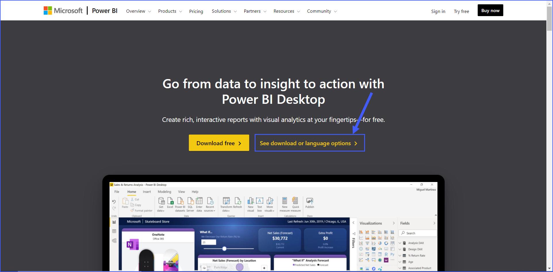 downloading options for power bi desktop application